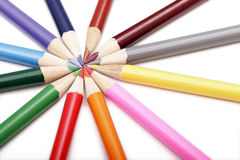 Colored Pencils In Round Shape. On White Background stock images