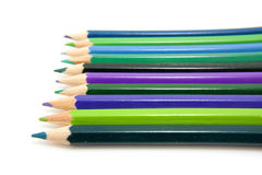 Colored pencils in a row Royalty Free Stock Photo