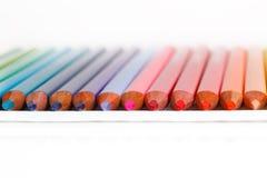 Colored pencils. In a row Stock Photos