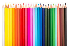 Colored Pencils Row Stock Image