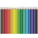 Colored pencils in a row. Many colored pencils in a row Royalty Free Stock Image