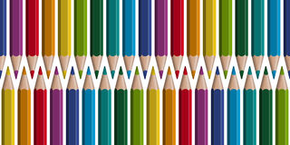 Colored pencils in row - seamless. Seamless arrangement of colored pencils in a row vector illustration