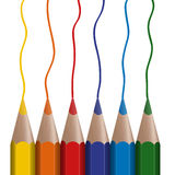 6 colored pencils in a row. Six colored pencils in a row drawing lines stock illustration