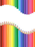 Colored pencils row with wave on lower side. Vector royalty free illustration