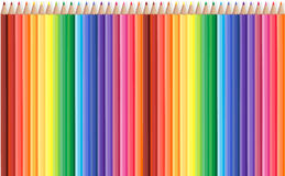 Colored pencils row with wave on lower side. Vector stock illustration