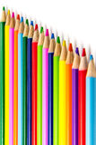 Colored Pencils in Rows Stock Images