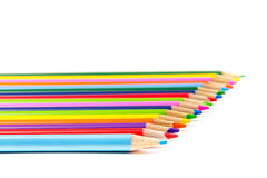 Colored Pencils in Rows Stock Photos