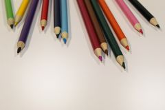 Colored Pencils Scattered Top stock images