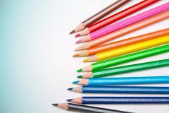 Colored pencils for school Royalty Free Stock Photo