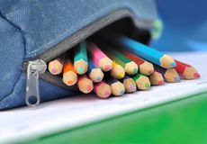 Colored pencils in school kit Stock Image