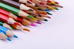Colored pencils, on white background, pattern, copy space stock photos