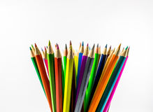 Colored pencils. School supplies colored pencils in a row , isolated on a white background Royalty Free Stock Photography