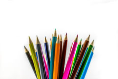 Colored pencils. School supplies colored pencils in a row , isolated on a white background Royalty Free Stock Photos