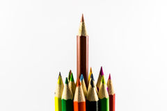Colored pencils. School supplies colored pencils in a row , isolated on a white background Stock Photography