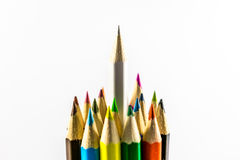 Colored pencils. School supplies colored pencils in a row , isolated on a white background Stock Photo