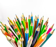 Colored pencils. School supplies colored pencils in a row , isolated on a white background Royalty Free Stock Images