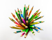 Colored pencils. School supplies colored pencils in a row , isolated on a white background Stock Photos