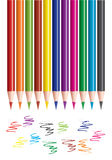 Colored pencils and scribbles Royalty Free Stock Images