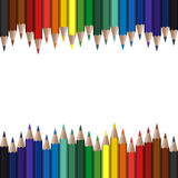 Colored pencils seamless. Seamless colored pencils on top and bottom border Stock Photos