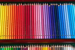 Colored pencils in sequence rainbow Stock Photo