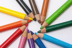 Colored pencils in sequence rainbow Stock Photography