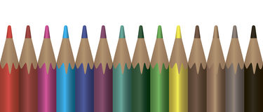 Colored pencils. Set of colored pencils arranged in a row. Vector illustration stock illustration