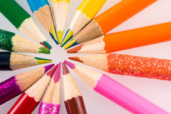 Colored pencils. Set of color pencils in shape Royalty Free Stock Image