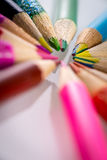 Colored pencils. Set of color pencils in shape Stock Images