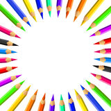 Colored pencils set. Colored pencils icon set background Royalty Free Stock Image