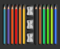Colored pencils set with sharpeners Royalty Free Stock Image