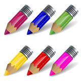 Colored pencils set. On a white background Royalty Free Stock Photo