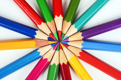 Colored pencils. Several colored pencils with sharp tips Stock Photography