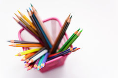 Colored pencils and sharp in penholder blurred Stock Photography
