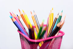 Colored pencils and sharp in penholder Stock Images