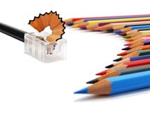 Colored pencils and sharpener Stock Photo