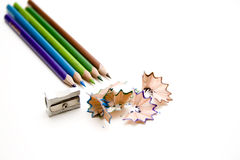 Colored pencils with sharpener Royalty Free Stock Photo