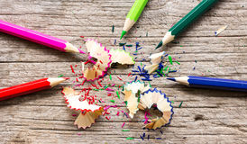 Colored pencils and sharpener Stock Photography