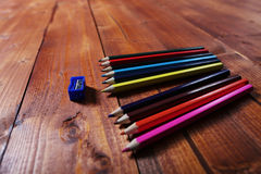 Colored pencils and a sharpener Stock Photo