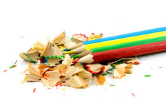 Colored pencils with shaves Royalty Free Stock Photo