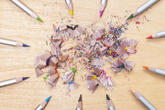 Colored pencils and shavings Stock Photo