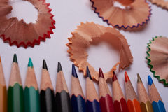Colored pencils and shavings Royalty Free Stock Photography