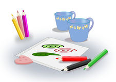 Colored pencils, sheets and cups. Royalty Free Stock Images