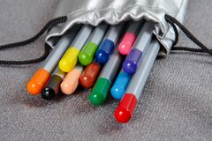 Colored pencils in a silver case Stock Photography