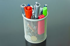 Colored Pencils in a Silver Tin Stock Image