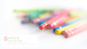 Colored pencils and soft bokeh Royalty Free Stock Image