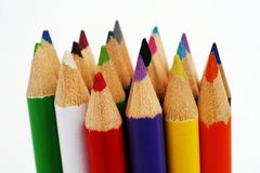 Colored pencils. Spectrum of round colored wood pencils Royalty Free Stock Photo