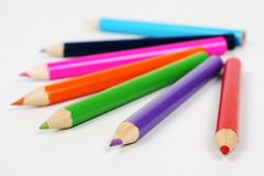 Colored pencils. Spectrum of round colored wood pencils Stock Photo
