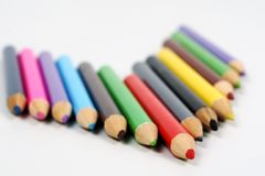 Colored pencils. Spectrum of round colored wood pencils Stock Images