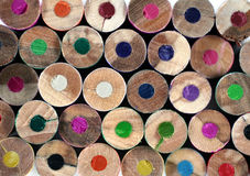 Colored pencils. Spectrum of round colored wood pencils Stock Photography