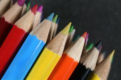Colored pencils. Spectrum of round colored wood pencils Royalty Free Stock Image